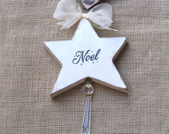 Wood Star Ornament, Wooden Star, Noel Star, Christmas Star, Star with Noel, Suncatcher, Star with Crystal, Hanging Star, Holiday Ornament