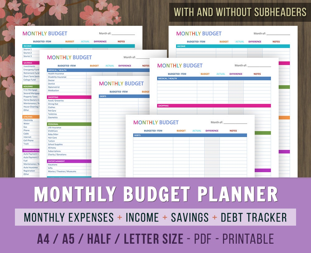Monthly Budget Planner Monthly Budget Printables Family