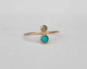 14 k yellow Gold stackable Ring with turquoise and opal