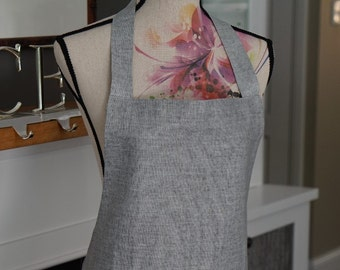 Tie-back grey linen traditional apron .