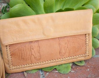 SALE Horse Leather Wallet * Natural * Wild *Fold Over *Clutch *Minimalist *Hand carved *Handmade * Hippie * Casual * Wrist Strap BP023