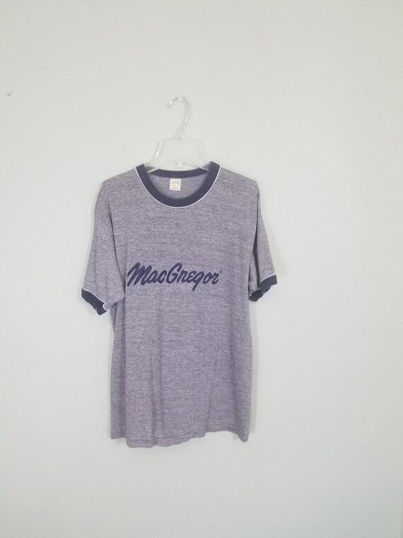 1970s Ringer T-shirt / Vintage MacGregor Golf / Heather Grey and Navy Blue Tee / Modern Size Medium Med M