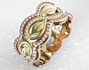 Diamond Leaf Ring, Stacking Gold Leaf Ring, Stacking Infinity Leaf Rings, Leaf Engagement Ring, Diamond Stacking Rings, Rose Gold Leaf Ring