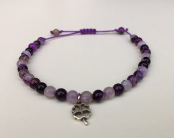 Woman agate purple cord adjustable bracelet Pearl semi precious charm clover / purple gemstone beads friendship bracelet lucky charm