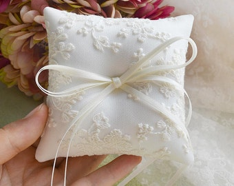 Lace Wedding Pillow, Lace Wedding Ring Bearer Pillow | White Ring Pillow