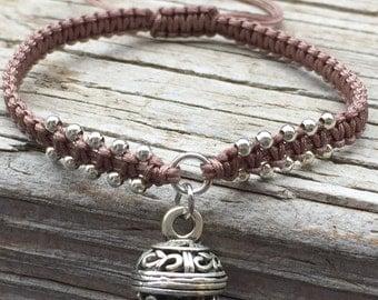 Filigree Ball Bracelet, Filigree Ball Anklet, Adjustable Cord Macrame Friendship Bracelet, Macrame Jewelry, Gift for Her, Braided Bracelet