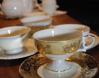 Tea Party Set of Coordinating Cups and Saucers -006