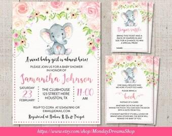 Printable Girl Elephant Floral Baby Shower Invitation, Girl Jungle Elephant Diaper Raffle, Elephant Books for baby Elephant Pink Floral