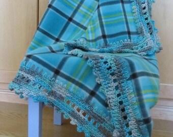 Blue plaid Crochet Edge Fleece Blanket