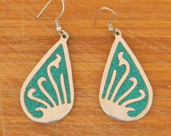 Mexico Vintage Silvertone Chipped Malachite Dangle Earrings Item X23
