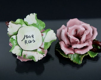 1849s Ceramics Porcelain Roses Antiques very Precious Handwork Candlesticks Table Candlesticks. Portable candle holders
