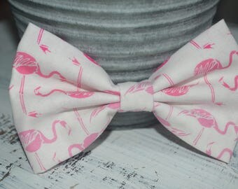 Pink and White Flamingo Fabric Hair Bow