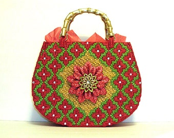 Red and gold tote bag in festive colors