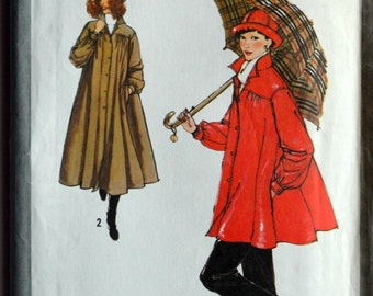 Uncut 1970s Simplicity Vintage Sewing Pattern 8829, Size 8; Misses' Unlined Raincoat or Jacket and Hat