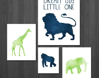 Safari Nursery Print - Safari Nursery - Jungle Nursery - Animal Nursery Print - Nursery Gallery Wall Art - Jungle Animal Nursery - Dream Big