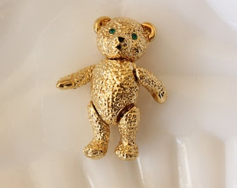 Vintage Signed Napier Articulated Teddy Bear Brooch Pin Gold Tone with Green Rhinestones