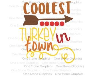 Coolest Turkey in town svg,Thanksgiving svg,svg for kids,Thanksgiving svg file,Coolest turkey svg,turkey svg,Holiday svg,arrow svg,kids svg