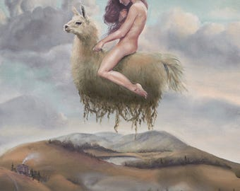 "Pop Surrealism Lowbrow Fine Art Print Godiva Llama Landscape Oil Painting 8.5"" X 11"""