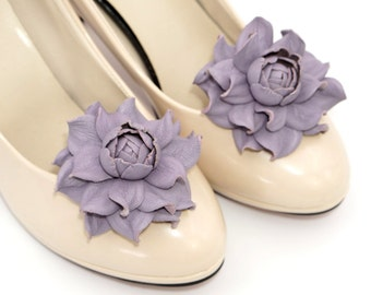 Genuine LEATHER SHOE CLIPS flowers, lavender rose floral shoe decoration, statement shoe jewelry | Handmade shoe jewellery, Ukranie