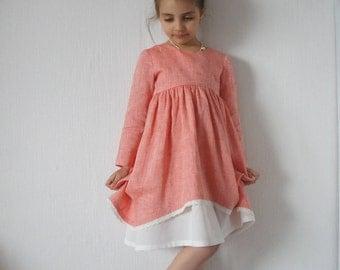 Linen Girl Dress, Linen Dress, Linen Dress for Girls, Flower Girl Dress, Vintage Girl Dress, Vintage dress, Vintage style, Emy&Pears dress