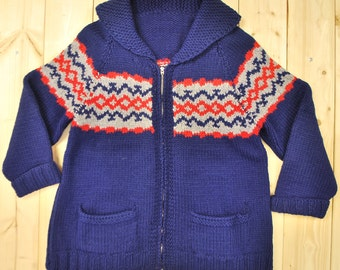 Vintage 1950's/60's Blue COWICHAN Sweater / Geometric Pattern / Retro Collectable Rare