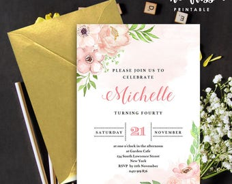 Floral Birthday Invitation | 5x7 | Editable PDF File | Instant Download | Personalize at home with Adobe Reader