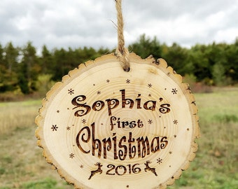 Wood Engraved Christmas - Baby's First Christmas Ornament - Engraved Christmas Ornament - Rustic Tree Ornament - Pregnancy Reveal