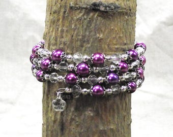 Sparkly 3 Loop Memory Wire Bracelet With Rich Purple Tones Along With Silver and Clear Crystal Beads