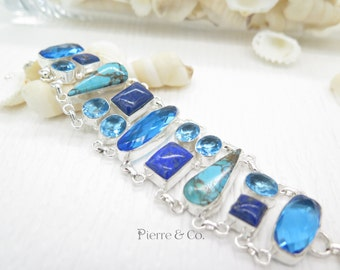 Blue Topaz Turquoise Lapis Lazuli Sterling Silver Bracelet