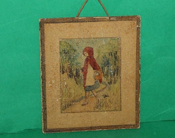 Vintage Dolls House Hand Made Watercolour Picture Little Red Riding Hood