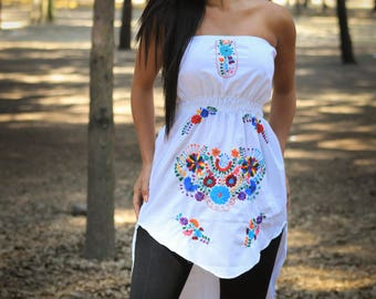 Mexican strapless Dress//Mexican embroidered Dress