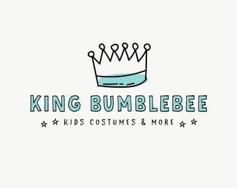 Crown premade logo - Teal logo design - Kids shop logo - Children shop logo design - Toy logo - Hand drawn logos - Quirky and cute