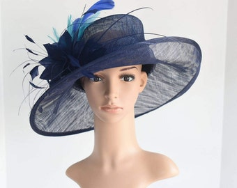 L18 New Kentucky Derby, Church, Wedding, Easter, Tea Party Wide Brim with feather flower Sinamay Hat ( Navy/Royal Blue/Turquoise )