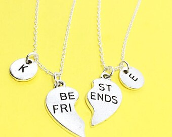 Silver Best Friends Necklaces - Set of Two Friendship Necklaces,friend Charm Pendant,Bff Charm, Friendship Necklace Set, Best Friend Jewelry