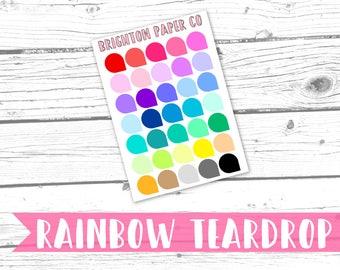 RAINBOW TEARDROP | Planner Stickers | Physical Item