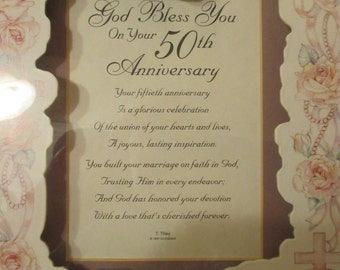 FRAMED  Art Print—Happy  50th  Anniversary Poem  TO A COUPLE .   Ivory Parchment Paper,  Poem Stands Out on  Soft Finished Picture.. Lovely.
