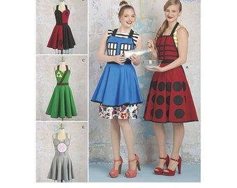 Simplicity 8279 A US Size S - L Cosplay Sewing Pattern New & Unused Apron Tardis Harley Quinn Tri Force Zelda Link Companion Cube Portal