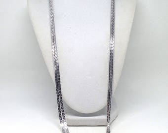 Stunning Vintage Estate Long Textured Dangle Silver Tone Necklace