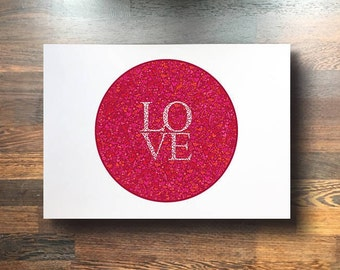 LOVE print (red background)