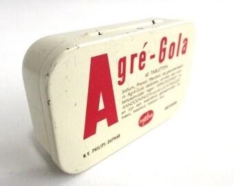 Duphar Agre Gola tin, Philips - Duphar, Amsterdam, Vintage medical tin. Collectible storage. #641G32K28