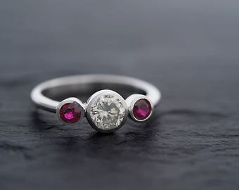 Moissanite Ring in 925 Sterling silver-Moissanite and Ruby Three Stone Ring-Ruby Ring-Moissanite Engagement Ring-Ready to Ship
