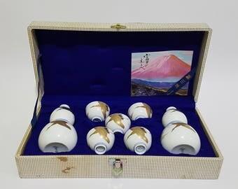 Vintage Fukagawa Mount Fuji Signatory Golden Crane Tsuru Decorated Japanese Sake Set, Japanese Pottery, CecysAsianShop