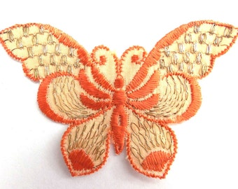 Butterfly applique 1930s vintage embroidered applique. Vintage patch, sewing supply. Crazy quilt. #6A7GB8KF