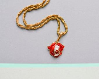 90s rose pendant, floral pendant, bridal rose pendant, flower pendant, 90s jewelry