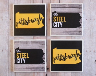 Pittsburgh Gift / Coasters / Pittsburgh / Pittsburgh Coasters / Pittsburgh Decor / Pittsburgh Art / Tile Coasters / Pittsburgh Gifts / Steel