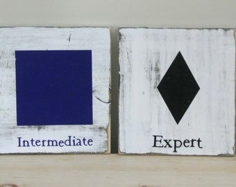 Ski Trail Symbols Distressed Wood Signs - SET of 4