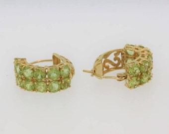 Double Row Peridot Petite Hoop Earrings in 14k Yellow Gold