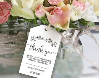Printable Thank You Tag, Wedding Welcome Tag Template, Rustic Printable FavorTag, Wedding Thank You template, Wedding Favor Thank You Tag