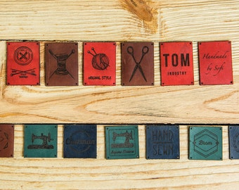 Leather label tags, personalized labels, custom engraved labels, handmade labels, custom label tags, leather tag, labels for knitted goods