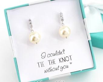 Wedding Earrings Swarovski Pearl Earrings Wedding Jewelry Bridal Earring Bridesmaid Gift Bridesmaid Earrings Zirconia Earrings Bride earring